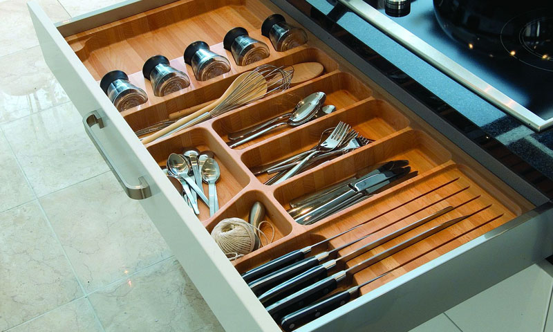 Beech Cutlery And Jar Drawer Insert Make Kitchens